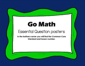 Go Math Essential Question Poster