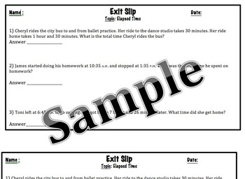 Go Math Exit Slip-Finding Elapsed Time