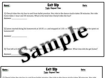 Go Math Exit Slip-Finding Elapsed Time