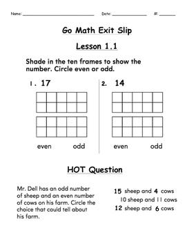 Go Math Exit Slip Lesson 1.1