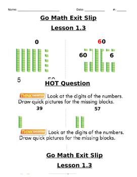 Go Math Exit Slip Lesson 1.3
