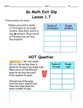 Go Math Exit Slip Lesson 1.7