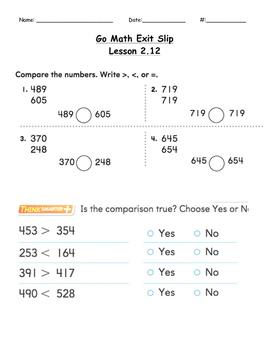 Go Math Exit Slip Lesson 2.12