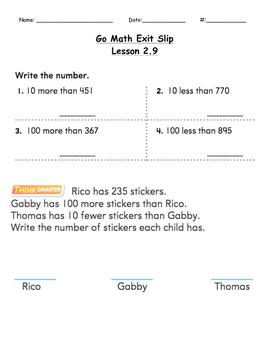 Go Math Exit Slip Lesson 2.9