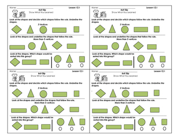 Go Math Exit Slips Chapter 12 First Grade