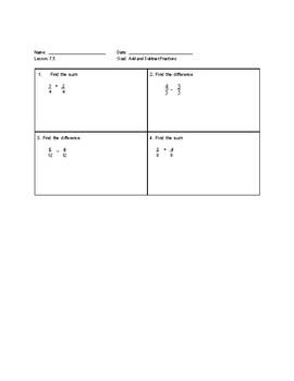Go Math Exit Tickets-Ch 7