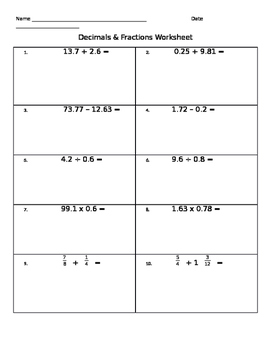 Go Math! Fifth Grade Chapters 4-7 Decimals and Fractions Worksheet