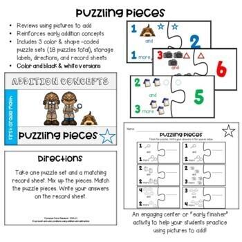 Go Math! First Grade Chapter 1 Center: Puzzling Pieces