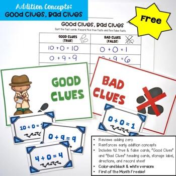 Go Math! First Grade Chapter 1 FREEBIE: Good Clues, Bad Clues