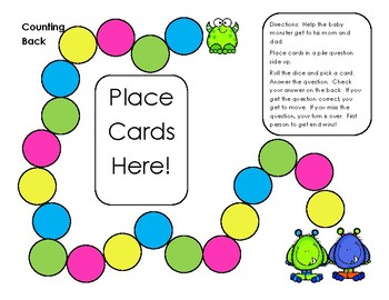 Go Math! First Grade Chapter 4 Counting Back Self-Checking Game Sample