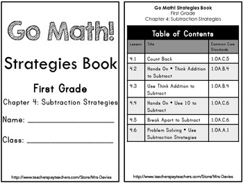 Go Math First Grade Chapter 4 Subtraction Strategies Reference Book