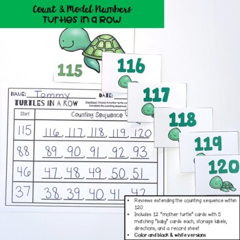 Go Math! First Grade Chapter 6 Center: Turtles in a Row