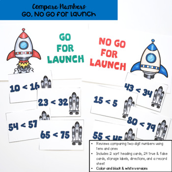 Go Math! First Grade Chapter 7 Center: Go, No Go for Launch