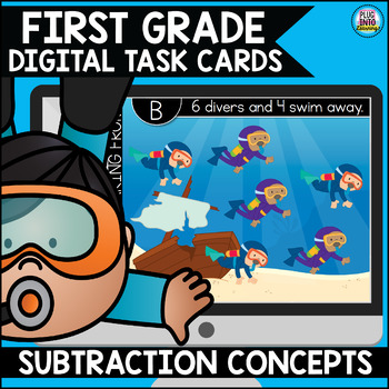 Go Math First Grade Digital Task Cards- Subtraction Concepts