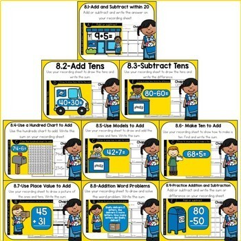 Go Math First Grade Digital Task Cards- Two Digit Addition and Subtraction