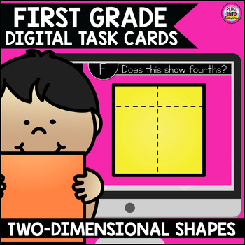 Go Math First Grade Digital Task Cards- Two Dimensional Geometry
