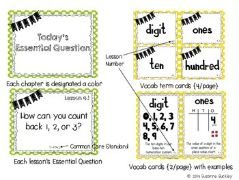 'Go Math' First Grade Essential Question Posters & Vocabulary Cards for Ch. 4-6