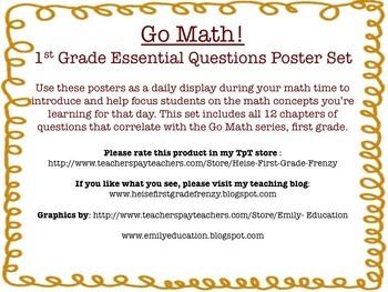 Go Math! {First Grade Essential Questions Poster Set}