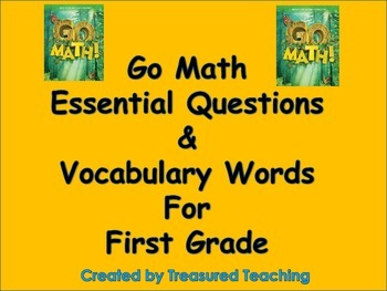 Go Math First Grade Essential Questions and Vocab Chapters 1 and 2- Post Them Up