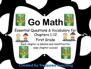 Go Math First Grade Essential Questions and Vocab for Chap