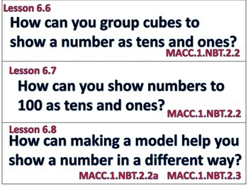 Go Math First Grade Essential Questions for Lessons and Vocab Chapters 5-6