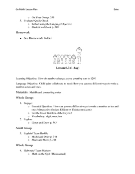Go Math - First Grade Lesson Plans - Chapter 6