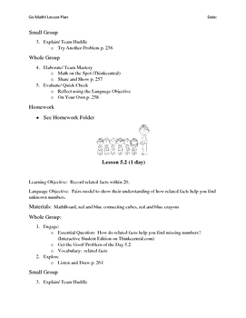 Go Math - First Grade Lesson Plans - Chapter 5