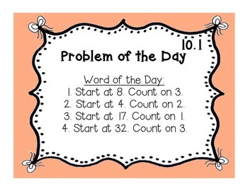 GoMath!(1st grade)FLA Common Core Ch. 10 Journal Prompts & Problem of the day