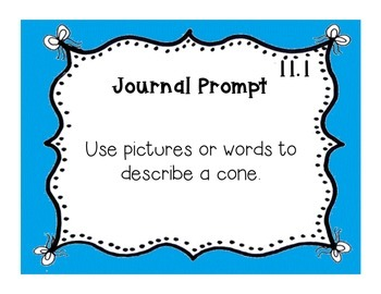 GoMath!(1st grade)FLA Common Core Ch. 11 Journal Prompts & Problem of the day