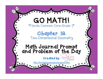 Go Math! Florida Common Core Chapter 12 Journal Prompts and Problem of the day