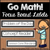 Go Math! Focus Board Labels Blackline