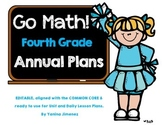Go Math Fourth Grade Yearly Plan aligned with the Common Core. Editable!