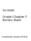 Go Math Grade 1 Chapter 7 Review Sheet