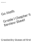 Go Math Grade 1 Chapters 4-7 Review Sheet Bundle **