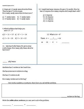 Go Math Grade 1 Chapters 4-7 Review Sheet Bundle **