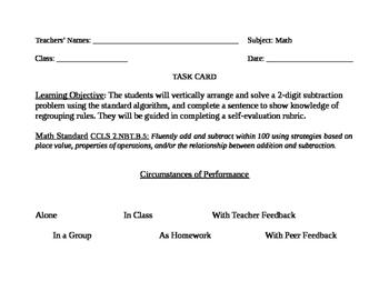 Go Math! Grade 2 Bulletin Board Task Card for January Portfolio Piece