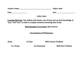 Go Math! Grade 2 Bulletin Board Task Card for March Portfolio Piece