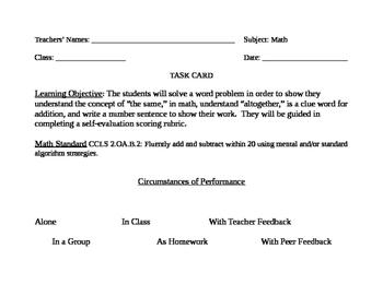Go Math! Grade 2 Bulletin Board Task Card for November Por