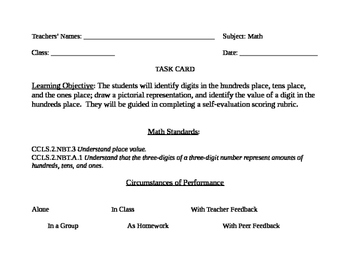 Go Math! Grade 2 Bulletin Board Task Card for October Portfolio Piece
