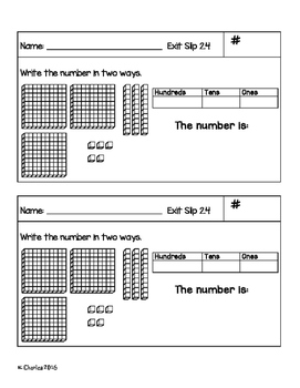 Go Math Grade 2 -- Ch. 2 Exit Slips