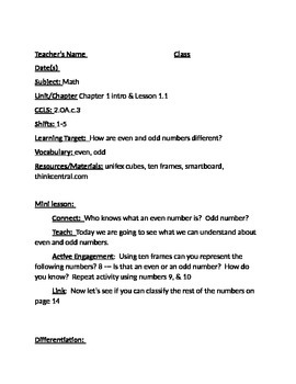 Go Math Grade 2 Chapter 1 Lesson Plans