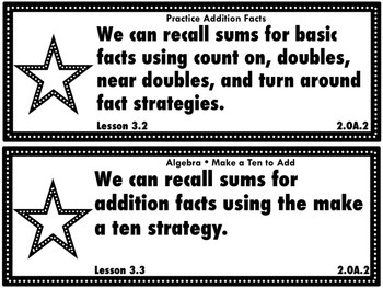 Go Math Grade 2 Chapter 3: Basic Facts and Relationships Unit Goals Display
