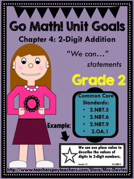 Go Math Grade 2 Chapter 4: 2-Digit Addition Chapter Goals Display