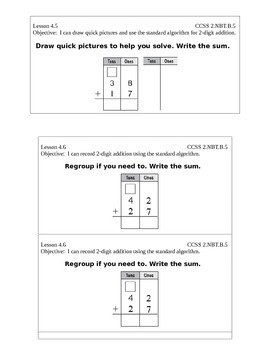 Go Math Grade 2 (Chapter 4) Journal Prompts/Exit Slips