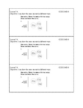 Go Math Grade 2 (Chapter 7) Journal Prompts/Exit Slips