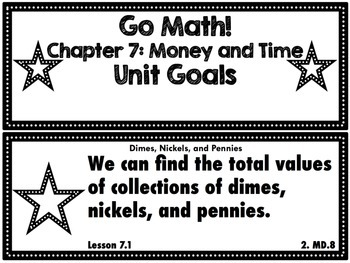 Go Math Grade 2 Chapter 7: Money and Time Chapter Goals Display