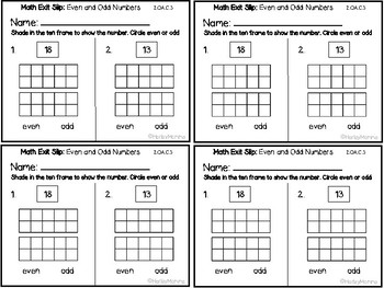 Go Math Grade 2 Exit Slips-Chapter 1