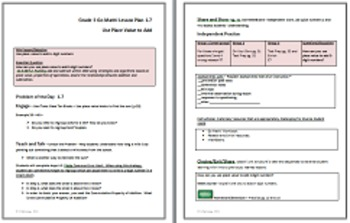 Go Math Grade 3 Chapter 1 Lesson Plans, Journal Prompts & Vocab Posters UPDATED
