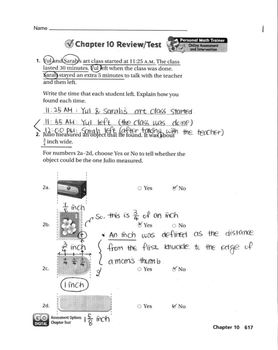 Go Math Grade 3 Chapter 10 Review/Test with Answers