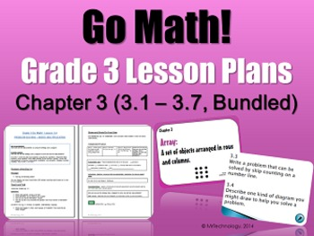 Go-Math Grade 3 Chapter 3 Lesson Plans, Journal Prompts & Vocabulary Posters